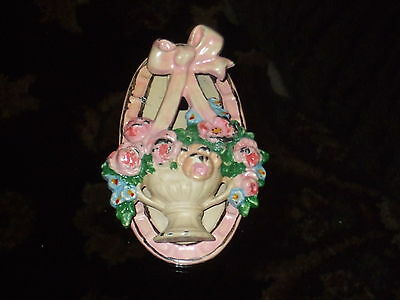Antique BASKET of FLOWERS c1920's Cast Iron HUBLEY Door Knocker #124 Vtg Shabby