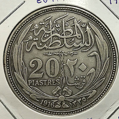 Egypt 1916 Twenty Piastres Large Silver Crown Coin Better Grade