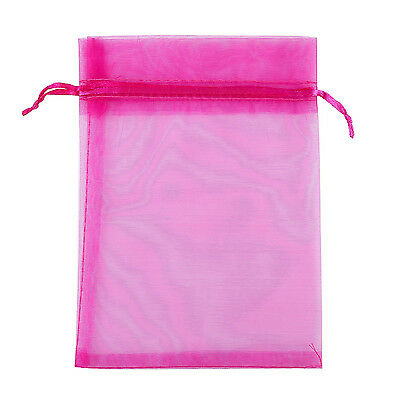 """50pcs 4.5*3.5"""" Organza Bags Drawable Jewelry Packing Wedding Gift Pouch Rose red"""