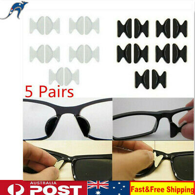 5 Pairs Silicon Anti-Slip Stick On Nose Pads for Eyeglass Sunglasses Glasses New