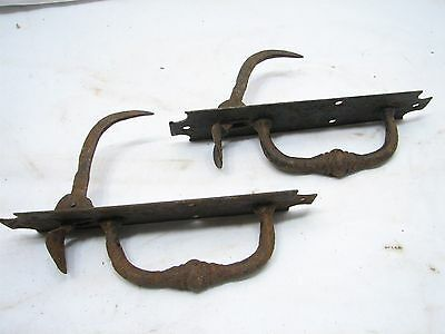 Pair Antique Hand Forged Iron Door Handle Latch Pull Colonial Thumb Wrought