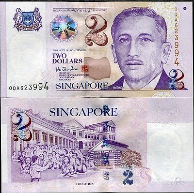 Singapore 2 Dollars Nd 1999 With 4 Lines P 38 Unc Lot 5 Pcs
