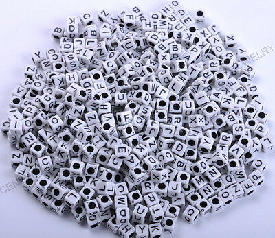 "50Pcs White Square Alphabet Letter ""A-Z"" Acrylic Cube Plastic Charms Beads 7MM"