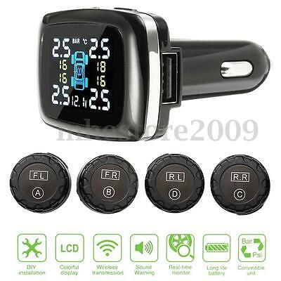 Auto Car Cigarette Lighter TPMS Tire Pressure Monitor System+4 External Sensors