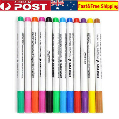 12 x DIY Fabric and T-Shirt Liner Markers Shoes Clothes Textile Painting Pens