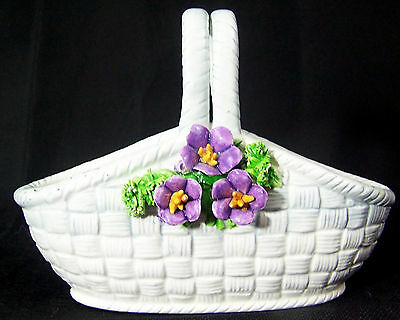 Lefton China Basket with Hand-painted Purple Flowers