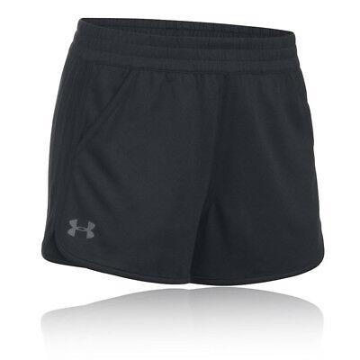 Under Armour Tech Solid Womens Black Training Sports Shorts Pants Bottoms