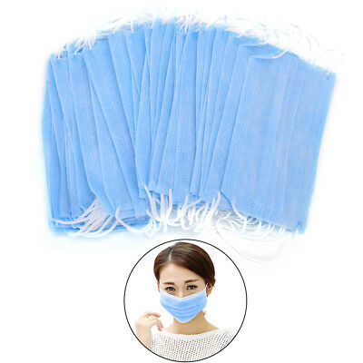 50X Disposable 3-Ply Ear Loop Face Mask  Dust Dental Surgical Nail Flu Safety