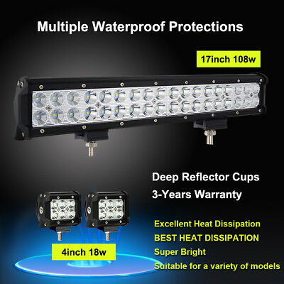 """CREE 18inch 108W Led Light Bar + 2x 4"""" Led Pods Jeep Off Road Boat Truck SUV 4WD"""