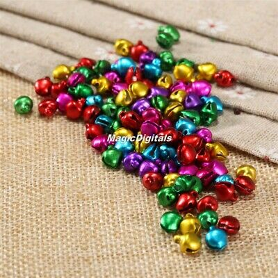 100pcs 8x6mm Loose Beads Jingle Bells Christmas DIY Crafts Handmade Accessories