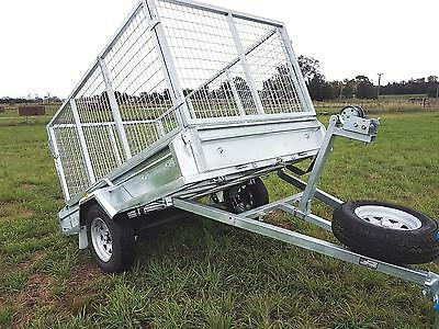 8x5 WINCH TIPPER TRAILER GALVANISED 300 HIGH SIDES 1000MM CAGE