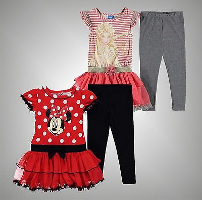 New Kids Girls Branded Disney Character Graphic Frill 2 Piece Set Size Age 2-10