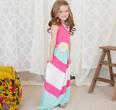 4fd88f01925 Cotton Mother and Daughter Maxi Crewneck Dress Mommy and Me Women Girls  Dresses
