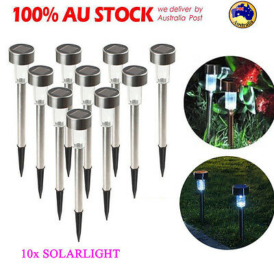 10Pcs Solar Power LED Lights Stainless Steel Garden Outdoor Park Path White Lamp