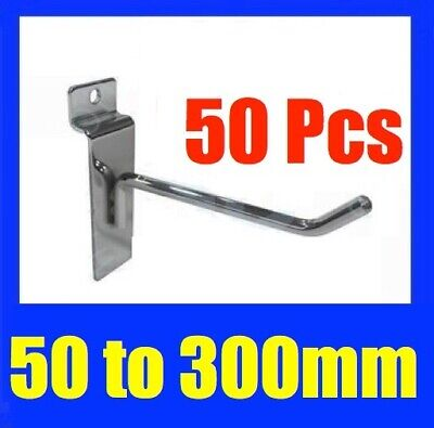 BULK Slatwall Heavy Duty Hooks 50mm To 300mm Slat Wall Grooved Panel Hook 6MM