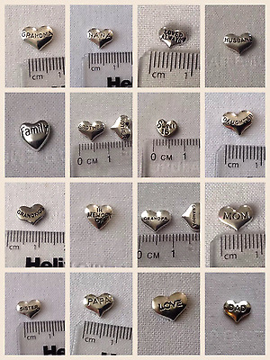Living Memory Floating Charm - Silver Word Hearts Family Theme 🇬🇧 UK SELLER