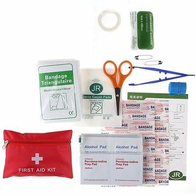 Professional Portable Medical First Aid Kit Red Bag Sport Home Outdoor Treatment