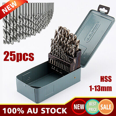 25PCS HSS High Speed Steel Metric Drill Bit Tool Set in Metal Case 1mm-13mm AU