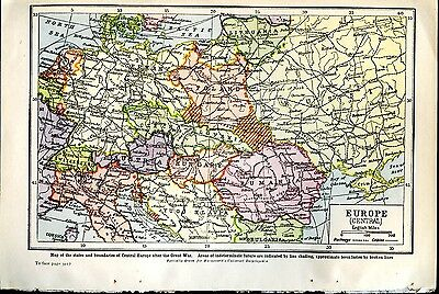 Map Central Europe c. 1921 showing States and Boundaries after the Great War WWI