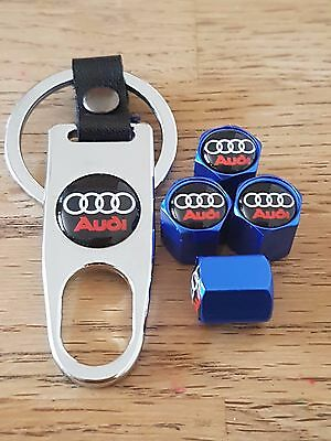 AUDI Blue car Valve dust caps and Spanner Keyring boxed set All Models TT A6 Q5