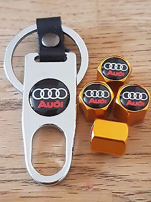 AUDI Gold car Valve dust caps and Spanner Keyring boxed set All Models TT A6 Q5