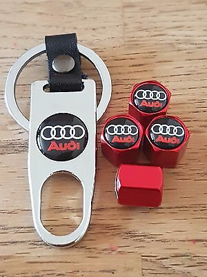 AUDI Red car Valve dust caps and Spanner Keyring boxed set All Models TT A6 Q5