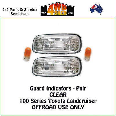 Indicator Guard Repeater Blinker Lights Toyota Landcruiser 100 Series Pair Clear