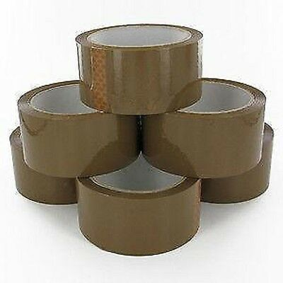 Brown Parcel Tape 48mm x 66M Packing Sticky Selotape Rolls - FAST DISPATCH!