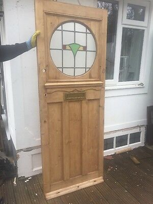 1930s RESTORED FRONT DOOR  RECLAIMED WOOD LEADED STAINED GLASS DECO PERIOD OLD