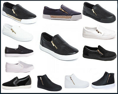 Ladies/womens Slip On Trainers/running Shoes Size Zip Sneakers Pumps Flat Skater