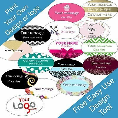 Oval 60 x 34 mm Personalised Business/Company Name Labels/stickers,ThankYou