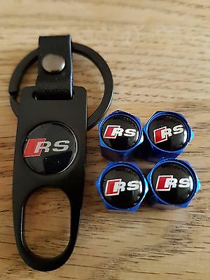 AUDI RS Blue car Valve dust caps and Spanner Keyring boxed set All Models RS7