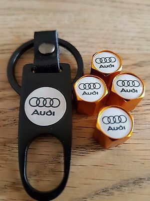 AUDI White top Gold car Valve dust caps and Spanner Keyring boxed All Models