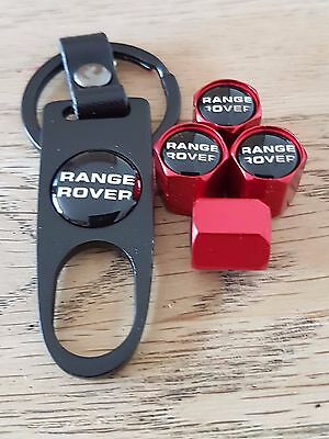 RANGE ROVER Red car Valve dust caps and Black Spanner Keyring boxed All Models