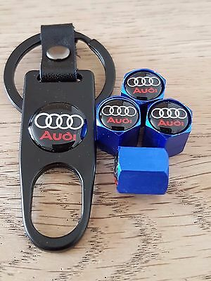 AUDI Blue car Valve dust caps and Black Spanner Keyring boxed All Models A6 A8