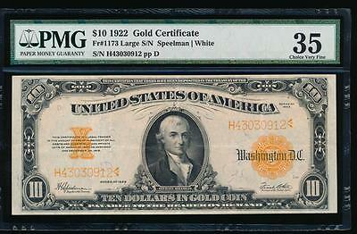 AC Fr 1173 1922 $10 Gold Certificate PMG 35 comment
