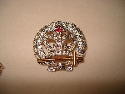 Vintage Order of the Amaranth Crown and Scepter Brooch Crystal Red Rhinestones