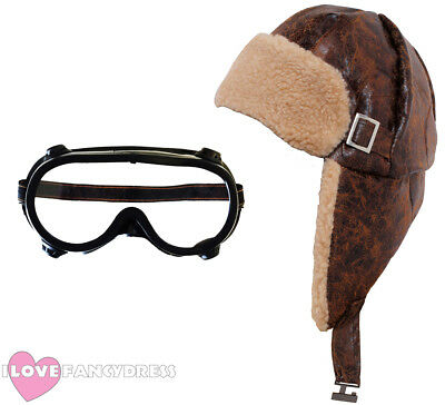 Flying Helmet And Goggles 1940's Pilot Hat Aviator Fancy Dress Wartime Costume