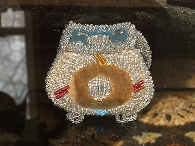 Vtg GLASS BEADED BOX Mohawk or Iroquois NATIVE AMERICAN 1800'S TO 1900s Antique