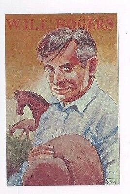 Vintage std size chrome post card Will Rogers signed George Turner