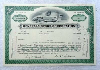 1972 Stock Certificate General Motors Corporation #2S1