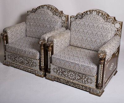 A Pair OF SYRIAN MOTHER-OF-PEARL INLAID HARDWOOD PALACE SEATS. Damascus.