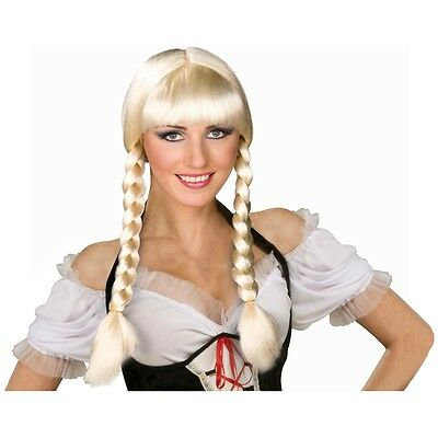 German Girl Costume Wig Adult Blonde Braids Oktoberfest Halloween Fancy Dress