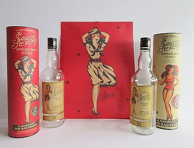 2 Sailor Jerry Empty Rum Bottles in Tubes  with 1 poster