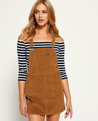 New Womens Superdry Cord Dungaree Dress Tan