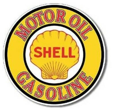"""Shell Oil Metal Tin Sign Gas Station Garage Service Shop 12"""" Round Man Cave"""