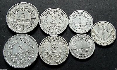 1945 - 1957 Mixed France Coins 7 Coins Total - 45