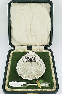 James Deakin Sheffield 1894 Victorian Sterling Silver Boxed Butter Dish & Knife