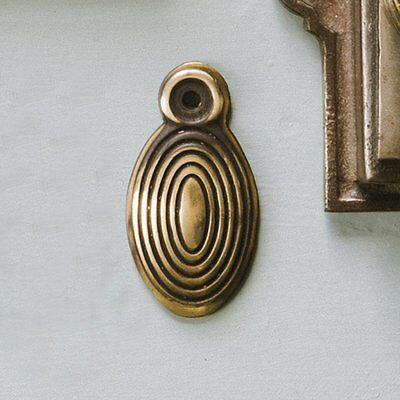 Antique Solid Brass Victorian Beehive Reeded Oval Escutcheon Door Keyhole Cover