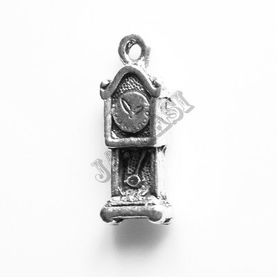 40 Grandfather Clock Time Antique Silver Charms Pendants 7mm x 21mm (710)